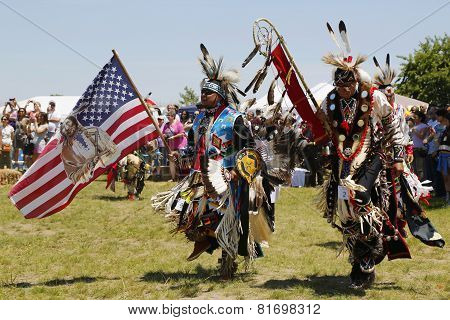 The Eagle Staff leads the Grand Entry at the NYC Pow Wow