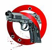 Vector illustration of Beretta Elite II handgun on white bloody background getting through stop sign. poster