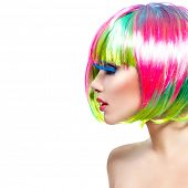 Beauty Fashion Model Girl with Colorful Dyed Hair. Short Bob Haircut with fringe. Colourful short Hair. Portrait of a Beautiful Girl with Dyed Hair, professional hair Coloring. Colouring hair  poster