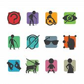 Vector colorful icon set of access signs for physically disabled people like blind deaf mute and wheelchair poster