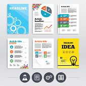 Brochures and A4 flyer leaflets. Accounting workflow icons. Human silhouette, cogwheel gear and documents folders signs symbols. Infographics design set. Vector poster