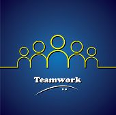 team teamwork leader & leadership vector concept graphic. This icon also represents unity solidarity involvement integrity poster