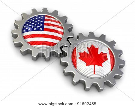 USA and Canadian flags on a gears (clipping path included)