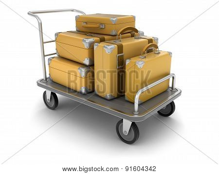 Handtruck and Suitcases (clipping path included)