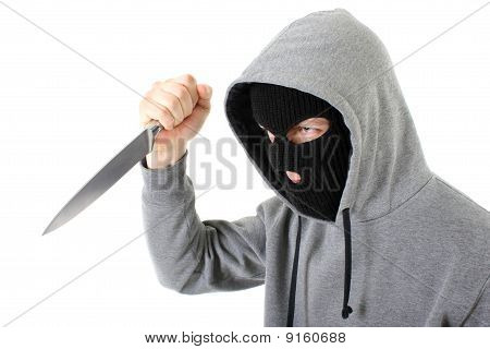 Bandit In Mask With Knife