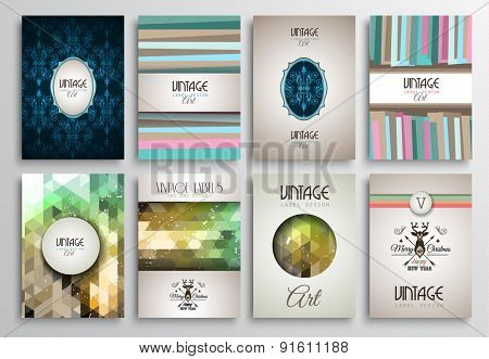 Vintage Styles brochure templates set with Labels. Vintage background to use as frames for advertising. Old dated look.