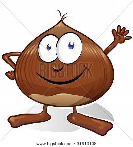 Chestnut Cartoon Isolated On White Background