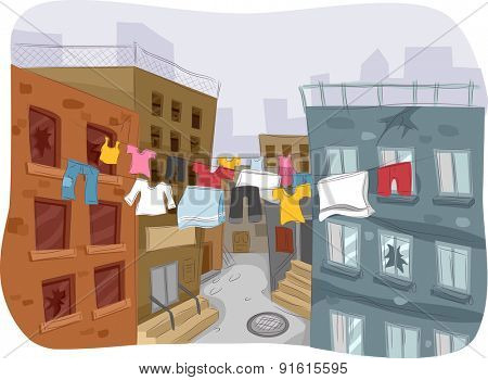 Illustration of a Ghetto with Clothes Hanging from a Clothesline in Plain Sight