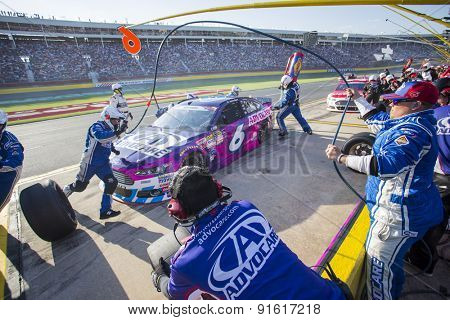 Concord, NC - Dec 31, 2015:  Trevor Bayne (6) brings his race car in for service during the Coca-Cola 600 race at the Charlotte Motor Speedway in Concord, NC.
