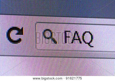 Faq Text In Address Bar Of Internet Browser
