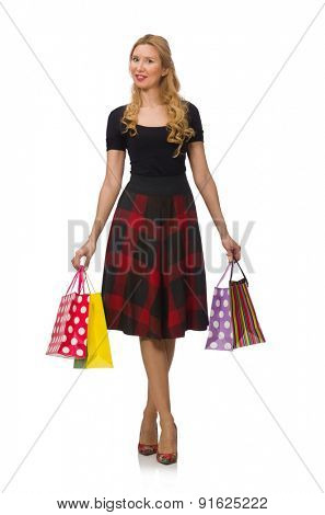 Beautiful young woman in plaid dress isolated on white poster