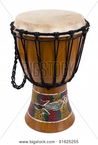 african djembe drum isolated over a white background