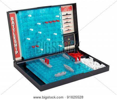 Battleship sea battle board game over white