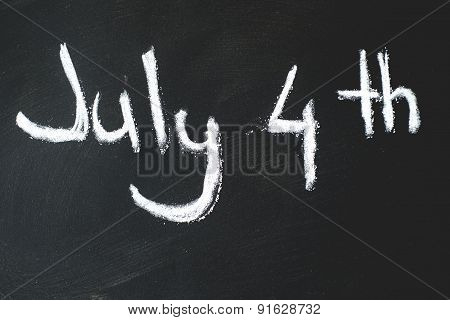 black chalkboard in classroom ...4 th of July