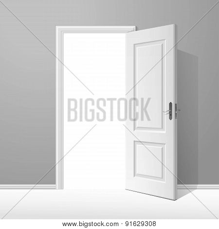 Vector White Open Door with Frame