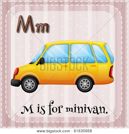 Flashcard letter M is for minivan