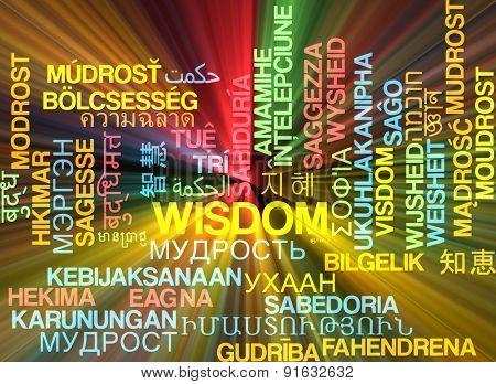 Background concept wordcloud multilanguage international many language illustration of wisdom glowing light