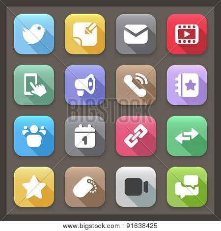 Social Flat Icons With Shadow