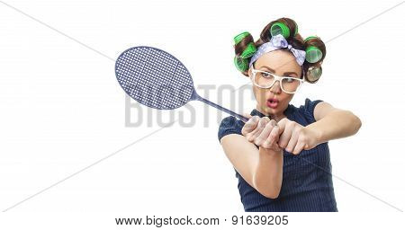 Housewife With Fly Swatter