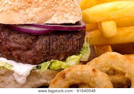 Cheeseburger, Fries and Onion Rings