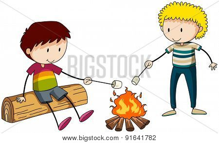 Two boys burning marshmellow at the campfire
