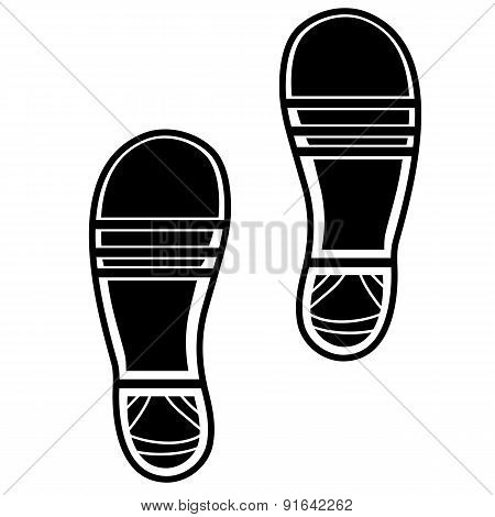 Clean Shoe Imprints Isolated on White Background poster