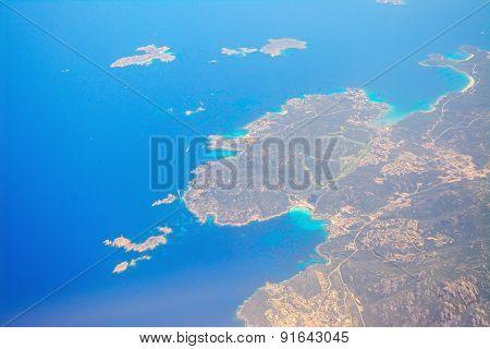 Aerial View Of Costa Smeralda Coastline