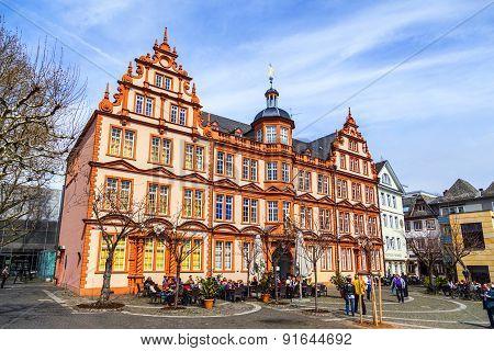 Facade Of Gutenberg House In Mainz