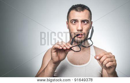 Funny crossed-eyes man