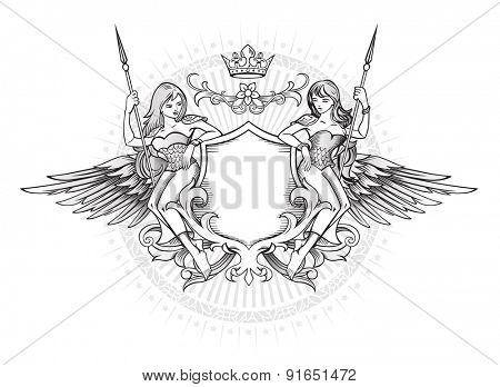 Winged Emblem with two long-hair girls holding the shield