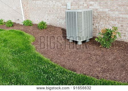 Air Conditioner Condenser Unit Standing Outdoors