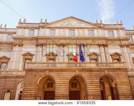 Vintage looking Teatro Alla Scala aka La Scala world famous opera house in Milan Italy poster