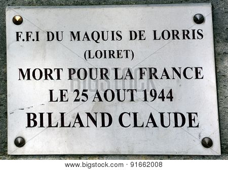 Memorial of Claude Billand