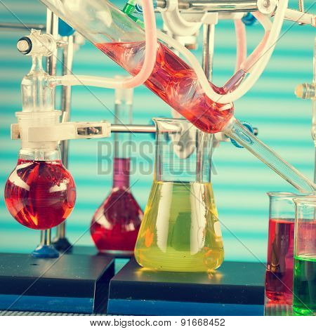 Modern chemical laboratory. Installation for synthesis, toned photo