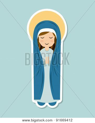 Holy Mary design over blue background, vector illustration poster