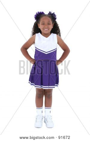 Beautiful Six Year Old Cheerleader Over White
