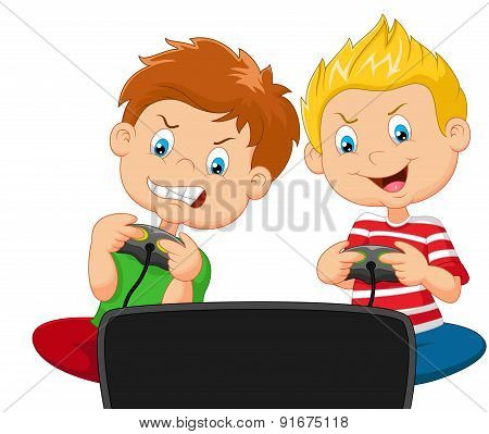 Little boys cartoon playing video game