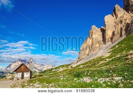 Small church near Tre Cime di Lavaredo, Dolomites