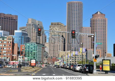 BOSTON, MA - SEP 14: One International Place in Boston, Massachusetts, as seen on Sep 14, 2014. The building is very prominent in the city's skyline, particularly when viewed from Boston Harbor.