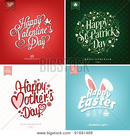 Spring and Summer Set with Mother's Day, Valentine's day, Saint Patrick Day And Easter Typographical