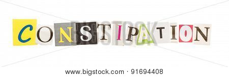 Constipation inscription from cut out letters