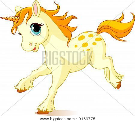 Illustration of cute running beautiful cute unicorn poster