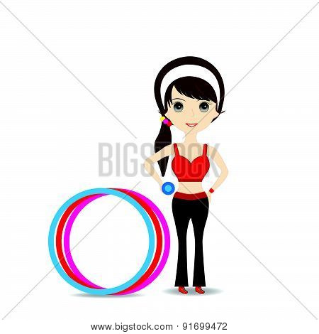 Woman Exercising In Sport Outfit Holding Dumbbell With Hulahoop
