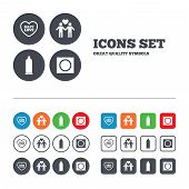 Condom safe sex icons. Lovers Gay couple signs. Male love male. Heart symbol. Web buttons set. Circles and squares templates. Vector poster