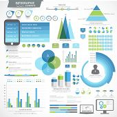 Big set of various infographic elements with statistical graphs for your business reports and financial growth presentation. poster