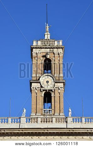 Clocktower from Capitoline Hill with Rome goddess statue at the top