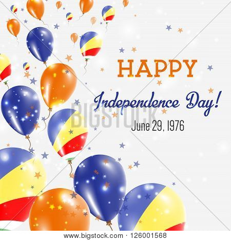 Seychelles Independence Day Greeting Card. Flying Balloons In Seychelles National Colors. Happy Inde