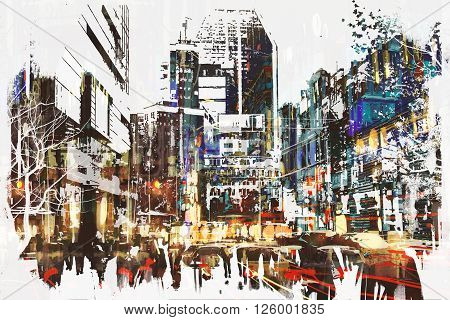 people walking in city with abstract grunge painting, illustration art