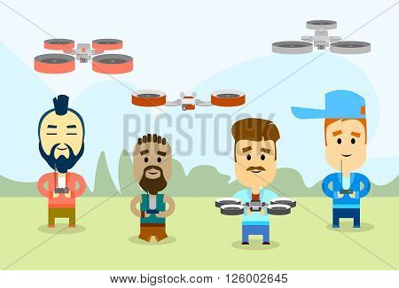 Casual Man Group With Drone Video Camera Remote Control Aerial Shoot Flat Vector Illustration