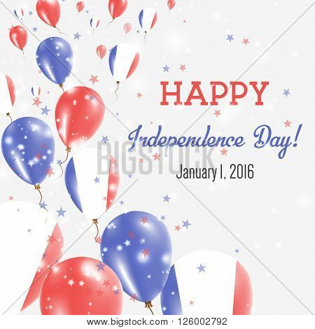 Guadeloupe Independence Day Greeting Card. Flying Balloons In Guadeloupe National Colors. Happy Inde
